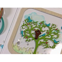 Punching and embossing stencil tree with birds