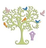 Spellbinders und Rayher Stanz- und Prägeschablone, Baum mit Vögelchen