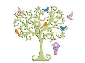 Spellbinders und Rayher Stansning og prægning stencil træ med fugle