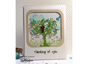 Spellbinders und Rayher Punching and embossing stencil tree with birds