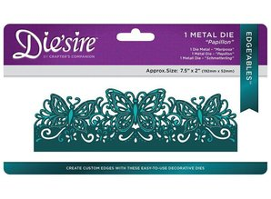 Die'sire NEW Stamping Stencils: Filigree Card Large Format Edge'ables, Butterflies