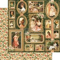 Portræt af en kvinde, designer papir 30,5 x 30,5 cm