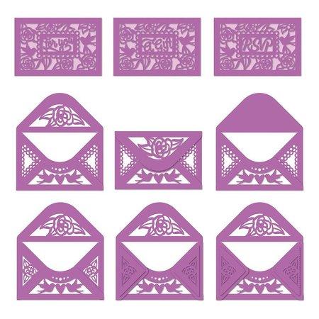 TONIC Stempling og prægning skabelon: til forskellige små kuverter
