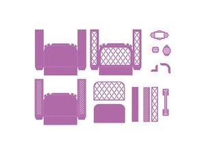 TONIC Stempling og prægning skabelon: 3D kuffert