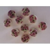 10 botões de madeira com motivos rosa