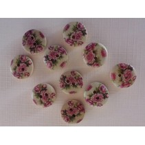 10 wood buttons with rose motif