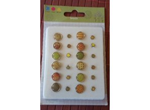 Embellishments / Verzierungen Epoxy Brads, 12 large and 12 smaller ones
