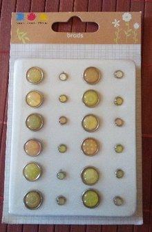 Embellishments / Verzierungen Epoxy Brads, 12 großer und 12 kleinere