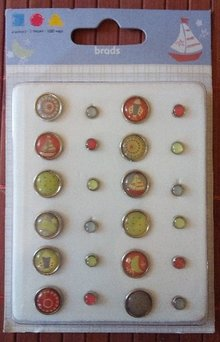Embellishments / Verzierungen Epoxy Brads, 12 large and 12 smaller ones - Copy - Copy