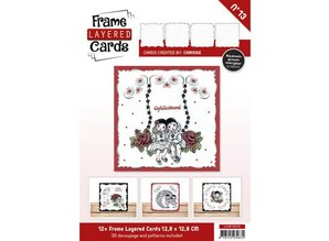 BASTELSETS / CRAFT KITS: 12 White Frame Layered Cards + 3D Plates