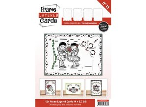 BASTELSETS / CRAFT KITS: 12 White Frame Layered Cards A6 + 3D Plates