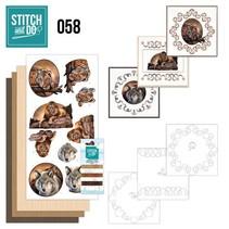 """Card set """"Wild Animals"""" embroidered"""