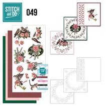 "Card set ""birds"" embroidered"