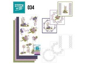 """BASTELSETS / CRAFT KITS: Card set """"flowers"""" embroidered"""