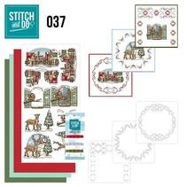 Kartenset borduren voor, het thema van Kerstmis
