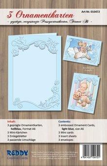 REDDY tarjetas conjunto de ornamento, A6, de color azul claro