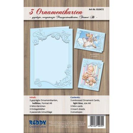 REDDY Ornamentkarten Set, Format A6, hellblau
