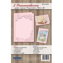 Ornamentkarten Set, Format A6, rosa