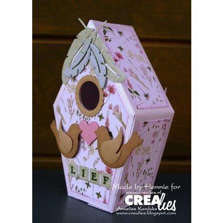 Crealies und CraftEmotions Stanzschablonen: 3D Vogelhaus