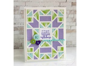 Tattered Lace Stamping template: Quilted frame