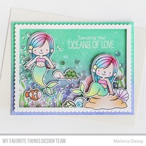 Stamping template: mermaids, plants, shells, fish and turtle