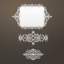 Ponsen sjabloon: Ingewikkeld Decoratief frame en ornamenten