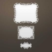 Ponsen sjabloon: Ingewikkelde decoratief frame en label