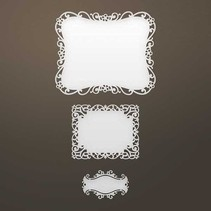 Stamping template: Filigree frame and label