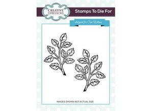 CREATIVE EXPRESSIONS und COUTURE CREATIONS Rubber stamp, 1 branches with leaves and 1 in mirror image