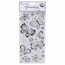Sticker Gemstone Stickers, Butterflies - Silver