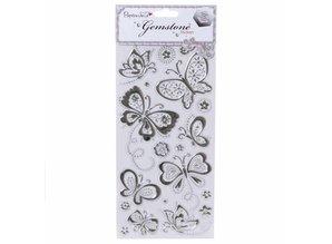 Sticker Schmuckstein Sticker, Schmetterlinge - Silber