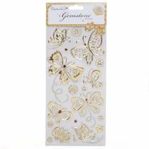 Gem stickers, vlinders - goud