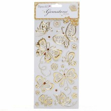 Sticker Gemstone Stickers, Butterflies - gold