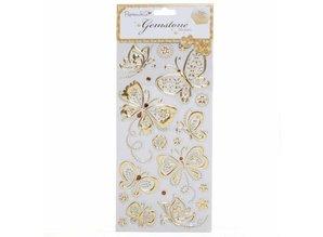 Sticker Schmuckstein Sticker, Schmetterlinge - gold