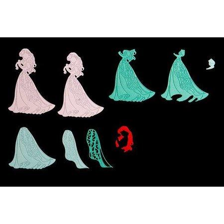 DISNEY Stanzschablonen SET: Disney + Stempel Demure Ariel Gesicht