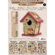 01 Craft Kit: MDF og papir fugl hus dekoration, 17cm.