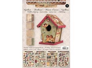 Objekten zum Dekorieren / objects for decorating 01 Craft Kit: MDF and paper bird house decoration, 17cm.