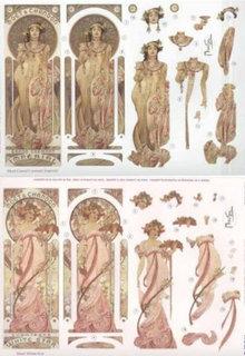 """BILDER / PICTURES: Studio Light, Staf Wesenbeek, Willem Haenraets Die cut ark: """"Art Nouveau"""" med forskellige billeder - kun 5 til rådighed!"""