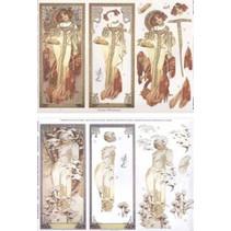 """Die hojas sueltas: """"Art Nouveau"""" con diferentes fotos - sólo el 5 disponible!"""