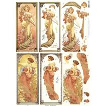 """NEW Stamping sheet: """"Jugendstil"""", various motifs"""