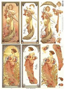 """BILDER / PICTURES: Studio Light, Staf Wesenbeek, Willem Haenraets NY udstansede ark: """"Art Nouveau"""", forskellige motiver"""