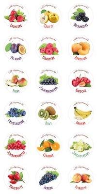 18 selbstklebende Etiketten für Marmelade/Smoothies