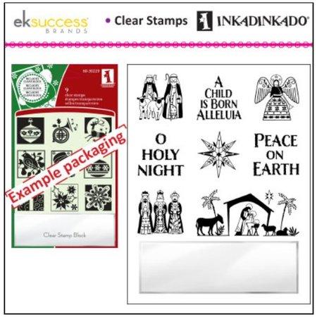 Stempel / Stamp: Transparent Transparent Stempel, Weihnachtsmotive inklusive kleiner Acrylblock!