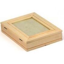 Platte houten doos met fotolijsten + 1 vel fotolijst met metallic goud effect!