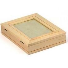 Objekten zum Dekorieren / objects for decorating caja de madera con marcos de cuadros + 1 hoja de marco de fotos con efecto metálico de oro!