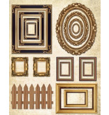 Objekten zum Dekorieren / objects for decorating Flad trækasse med billedrammer + 1 ark fotoramme med metallisk guld effekt!