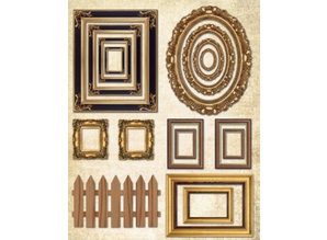 Objekten zum Dekorieren / objects for decorating Wooden box flat with picture frame + 1 sheet picture frame with metallic gold effect!