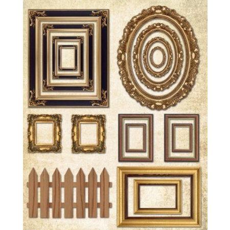 Objekten zum Dekorieren / objects for decorating Holzkiste flach mit Bilderrahmen + 1 Bogen Bilderrahmen mit metallic gold Effekt!