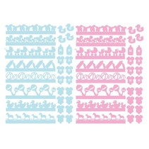 56 chipboards, baby decorations in pink and blue