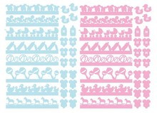 Embellishments / Verzierungen 56 chipboards, baby decorations in pink and blue